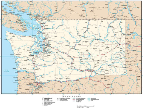 Washington Map with Capital, County Boundaries, Cities, Roads, and Water Features