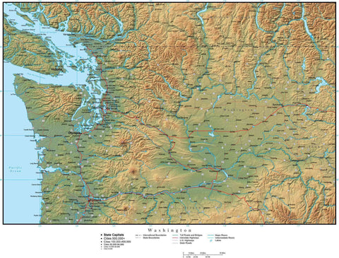 Washington Map Plus Terrain with Cities  Roads and Water Features