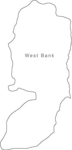 Digital Black & White West Bank map in Adobe Illustrator EPS vector format