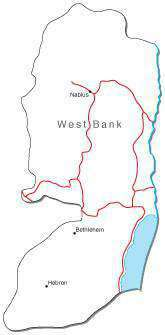 West Bank Black & White Map With Major Cities