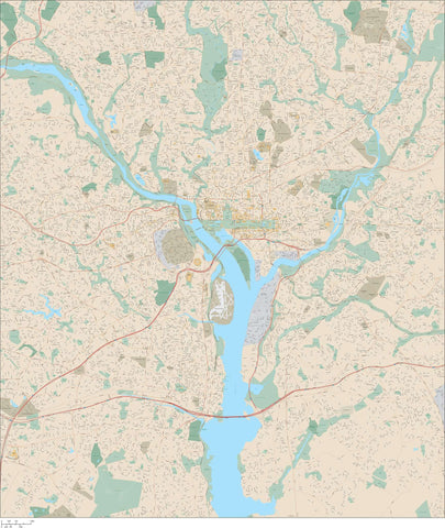 Washington DC including the District and Arlington VA - 225 square miles - with Local Streets