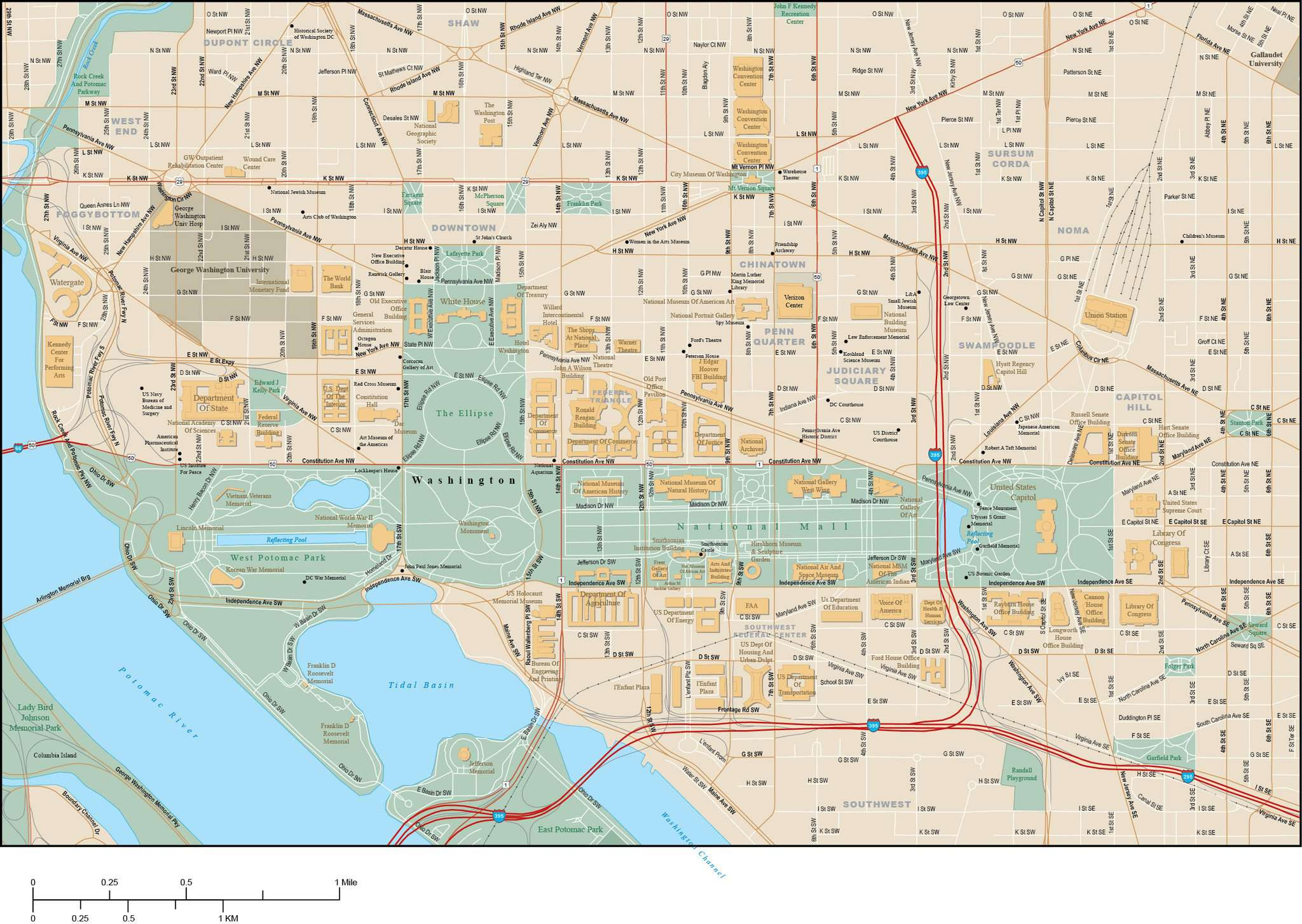 Washington DC National Mall Area Vector Map – Map Resources