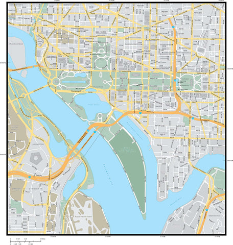 Washington DC Vector Map - Adobe Illustrator WDC-XX-985220