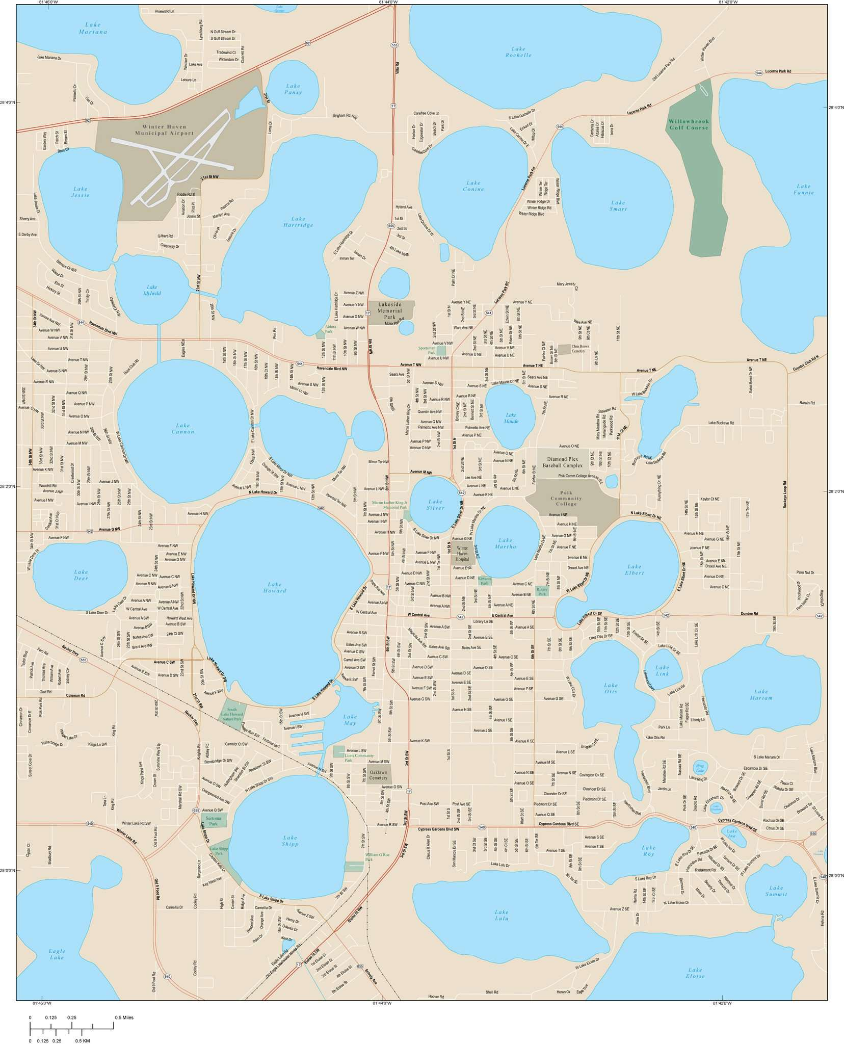 Winter Haven FL Map - 30 square miles - with Local Streets