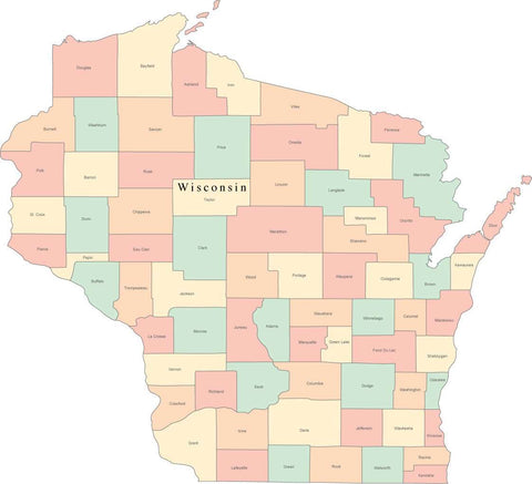 Multi Color Wisconsin Map with Counties and County Names