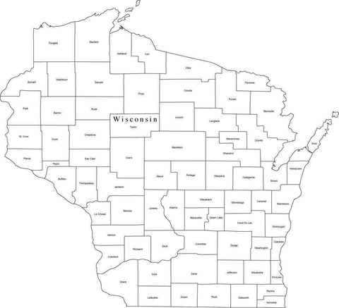 Digital WI Map with Counties - Black & White