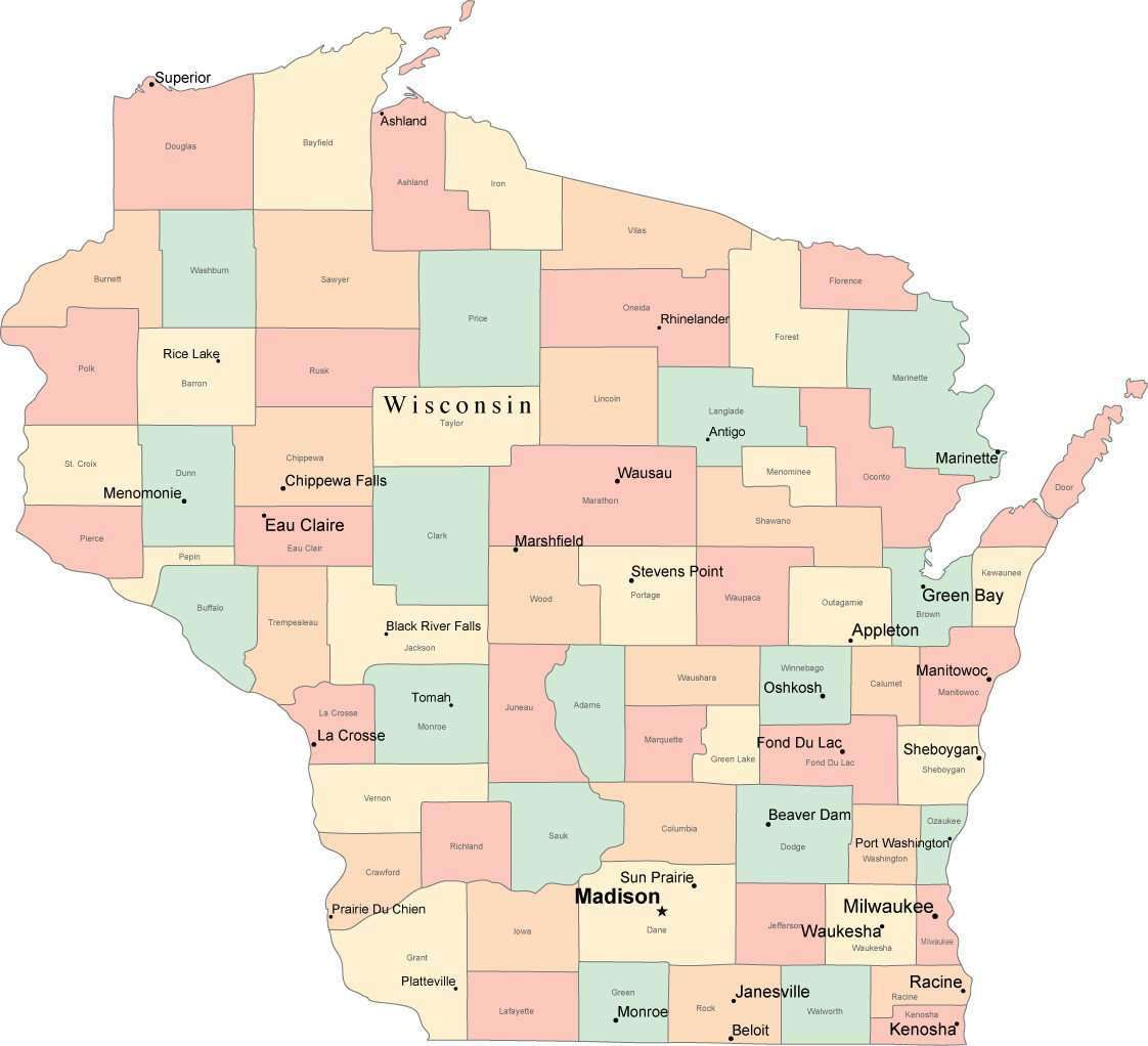 Multi Color Wisconsin Map With Counties Capitals And Major Cities