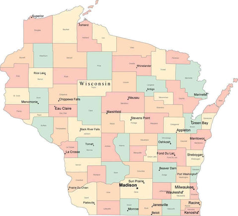 Multi Color Wisconsin Map with Counties, Capitals, and Major Cities