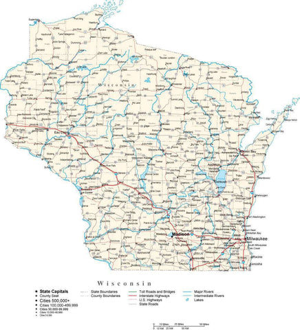 Wisconsin Map - Cut Out Style - with Capital, County Boundaries, Cities, Roads, and Water Features