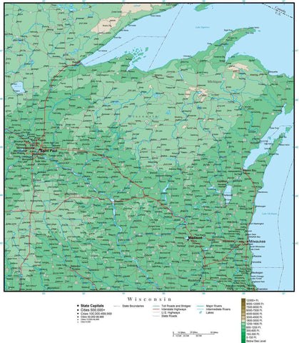Wisconsin Map with Contour Background