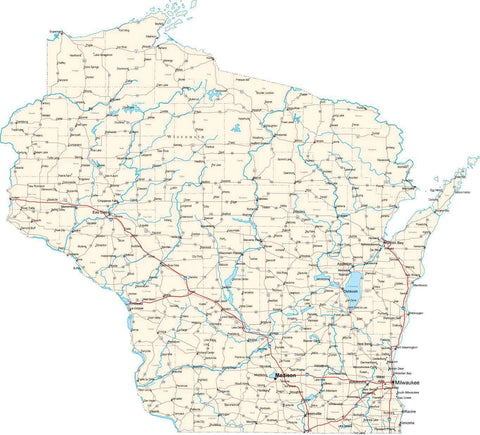 Wisconsin State Map - Cut Out Style - Fit Together Series