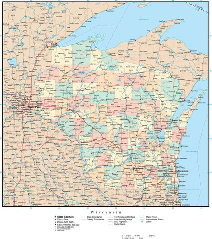 Wisconsin Map with Counties  Cities  County Seats  Major Roads  Rivers and Lakes