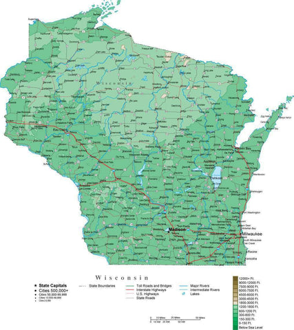 Wisconsin Map  with Contour Background - Cut Out Style