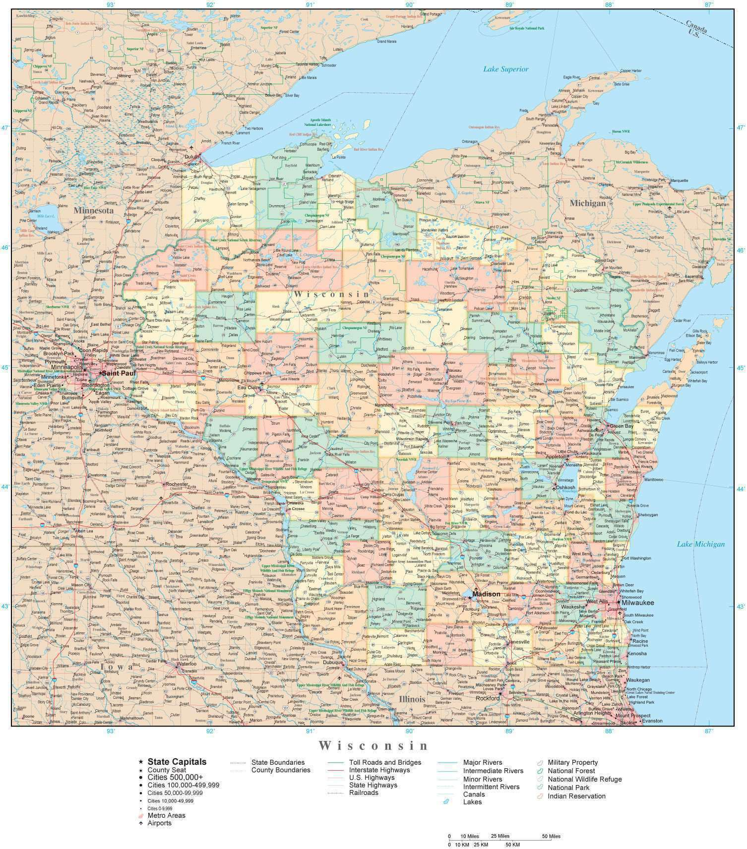 Detailed Wisconsin Digital Map with Counties, Cities, Highways, Railroads,  Airports, National Parks and more