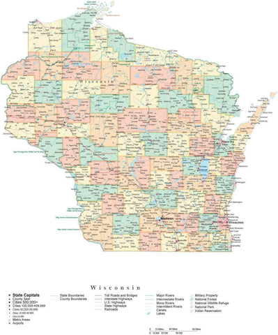 Poster Size Wisconsin Cut-Out Style Map with Counties, Cities, Highways, National Parks and more