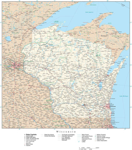 Poster Size Wisconsin Map with County Boundaries, Cities, Highways, National Parks, and more