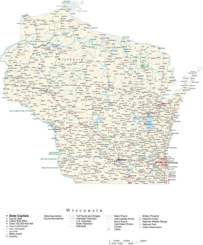 Detailed Wisconsin Cut-Out Style Digital Map with County Boundaries, Cities, Highways, and more