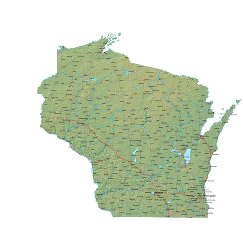 Digital Wisconsin map in Fit Together style with Terrain WI-USA-852139