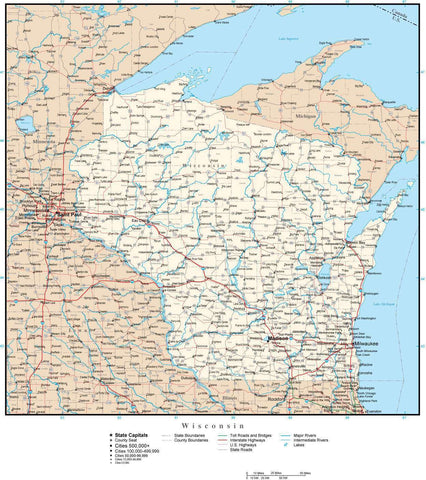 Wisconsin Map with Capital, County Boundaries, Cities, Roads, and Water Features