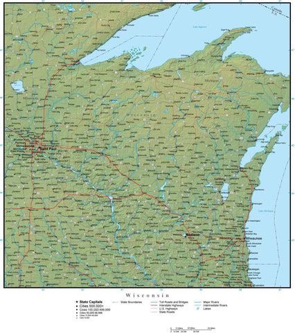 Digital Wisconsin Terrain map in Adobe Illustrator vector format with Terrain WI-USA-942203