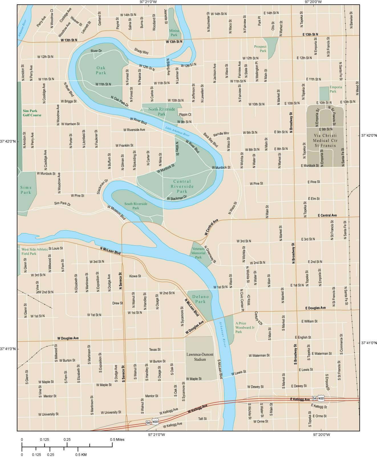 Wichita KS Map - Downtown - 4 square miles - with Local Streets on mo map, wy map, oh map, al map, or map, az map, tn map, co map, nm map, ok map, texas map, la map, mi map, mn map, ca map, ma map, wa map, ms map, ne map, ak map,