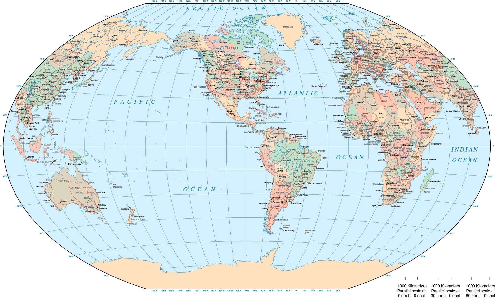 World Map United States Of America.World Map Americas Centered Winkel Tripel Projection