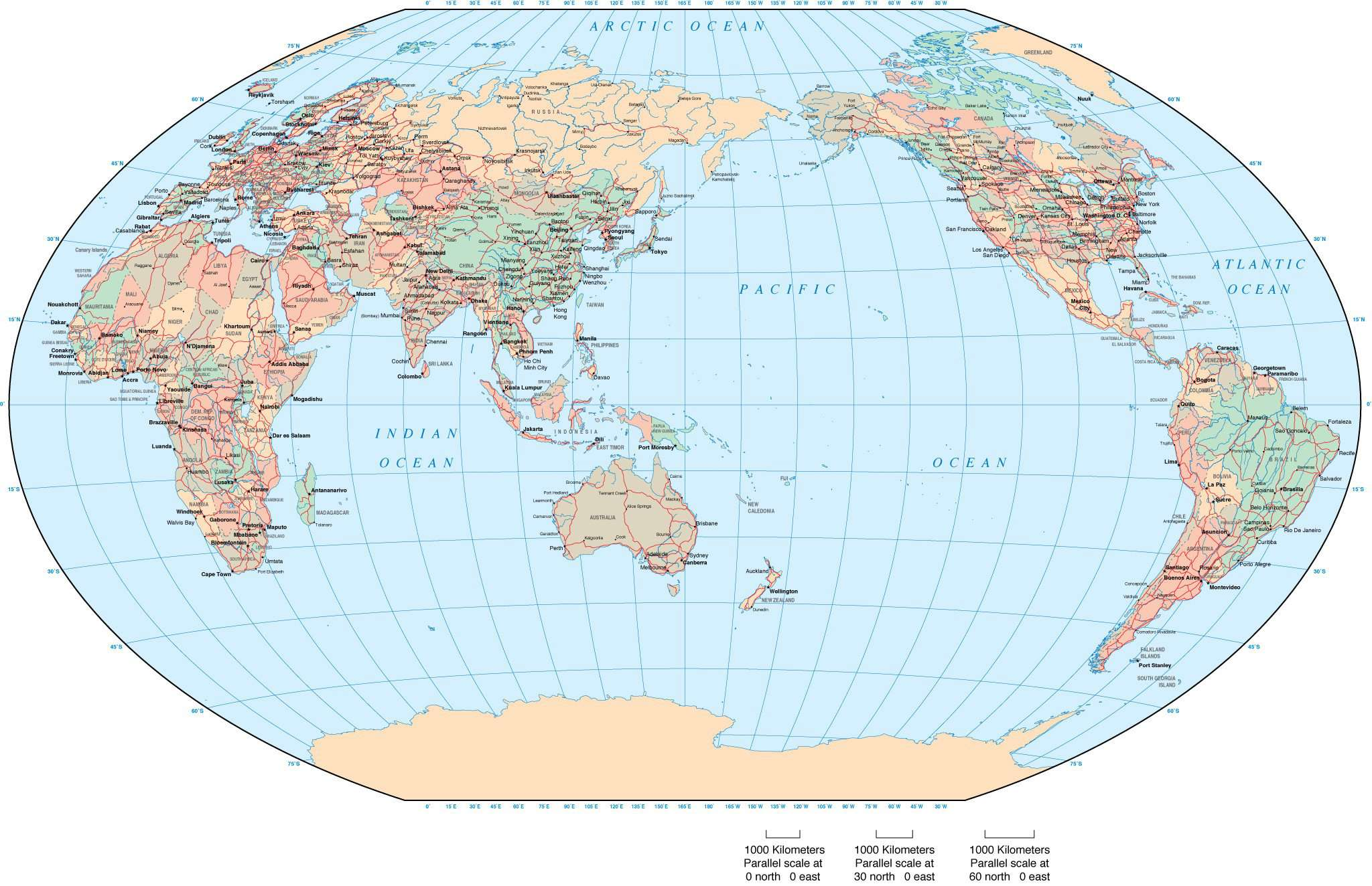 World Map Asia Australia Centered Winkel Tripel Projection