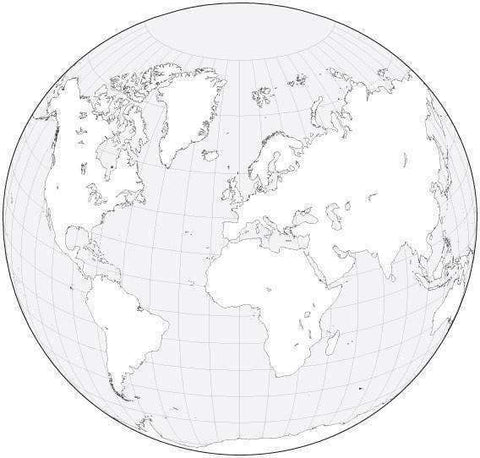 Digital World Blank Outline Map - Circular Projection - Black & White