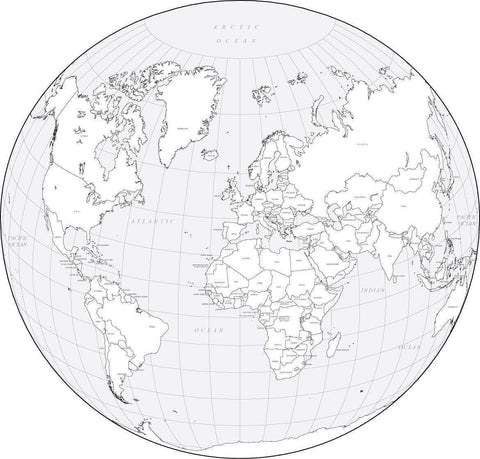World-in-a-Circle Black & White Map with Countries