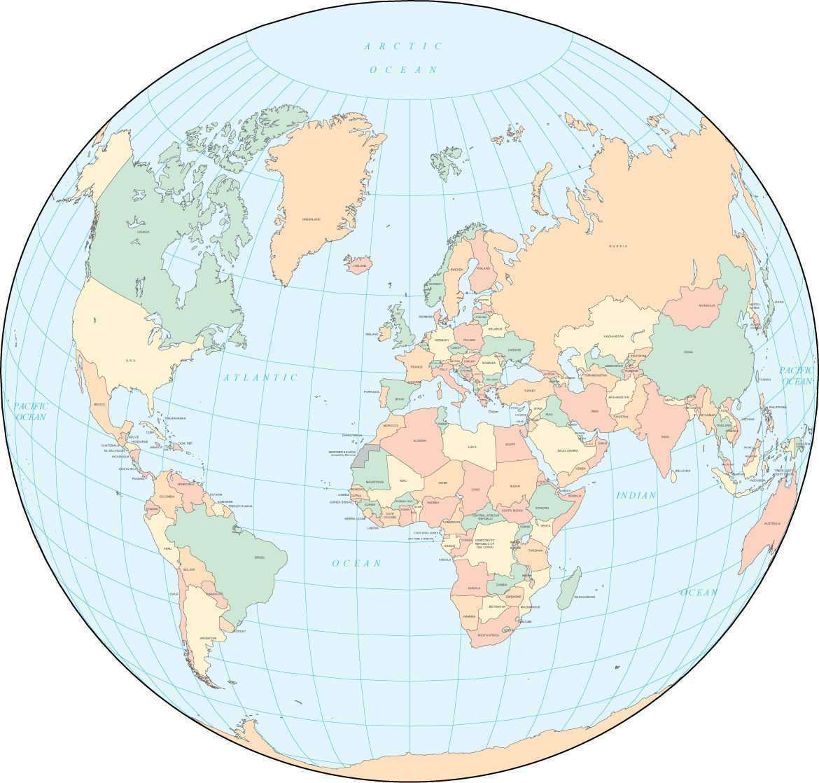 World Map   Multi Color, World in a Circle, with Countries – Map