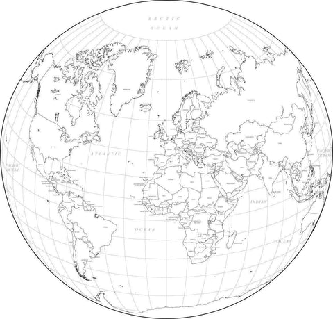 Digital World Map with Countries - Circular Projection - Black & White