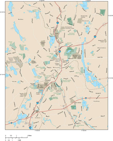 Worcester Map Adobe Illustrator vector format WOR-XX-985238