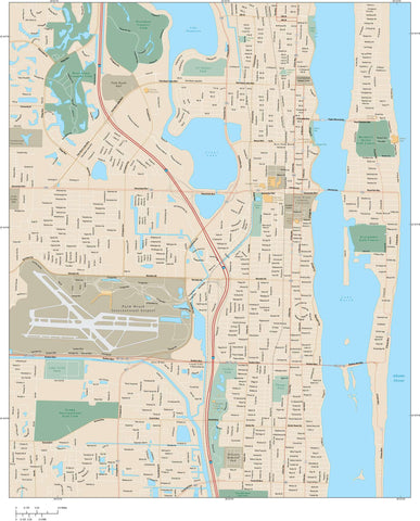 West Palm Beach Map Adobe Illustrator vector format WPB-XX-985149