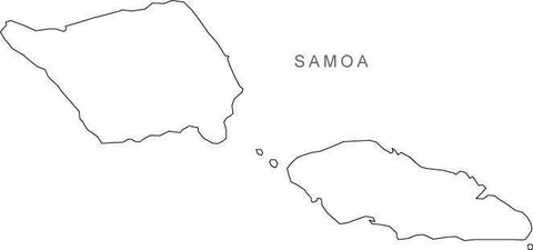 Digital Black & White Samoa map in Adobe Illustrator EPS vector format