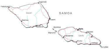 Samoa Black & White Map with Capital, Major Cities, Roads, and Water Features