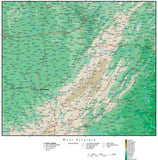 West Virginia Map with Contour Background
