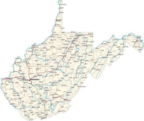 West Virginia State Map - Cut Out Style - Fit Together Series