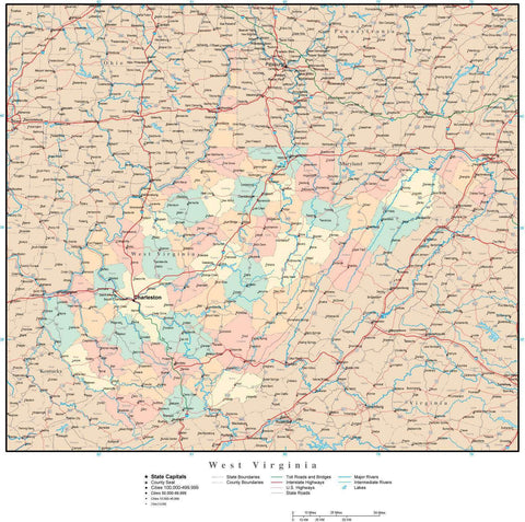 West Virginia Map with Counties, Cities, County Seats, Major Roads, Rivers and Lakes