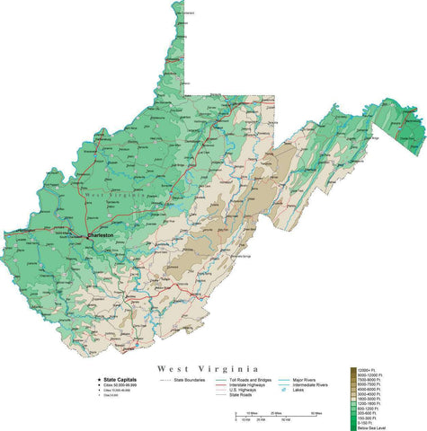 West Virginia Map  with Contour Background - Cut Out Style