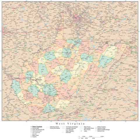 Poster Size High Detail West Virginia Map with Counties, Cities, Highways, Railroads, Airports, National Parks and more