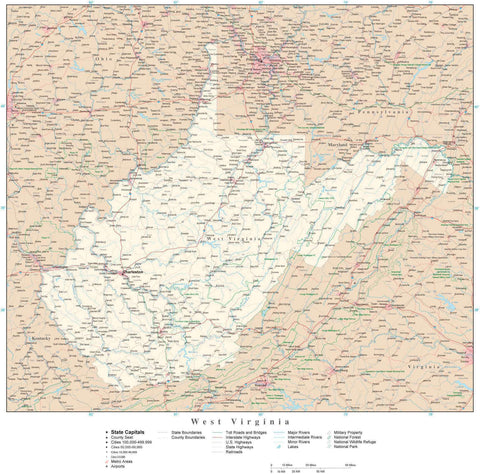 Poster Size West Virginia Map with County Boundaries, Cities, Highways, National Parks, and more