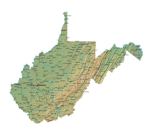 Digital West Virginia map in Fit Together style with Terrain WV-USA-852117