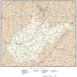 West Virginia Map with Capital, County Boundaries, Cities, Roads, and Water Features