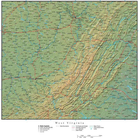 Digital West Virginia Terrain map in Adobe Illustrator vector format with Terrain WV-USA-942206