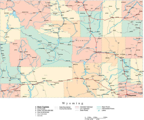 Wyoming State Map - Multi-Color Cut-Out Style - with Counties, Cities, County Seats, Major Roads, Rivers and Lakes