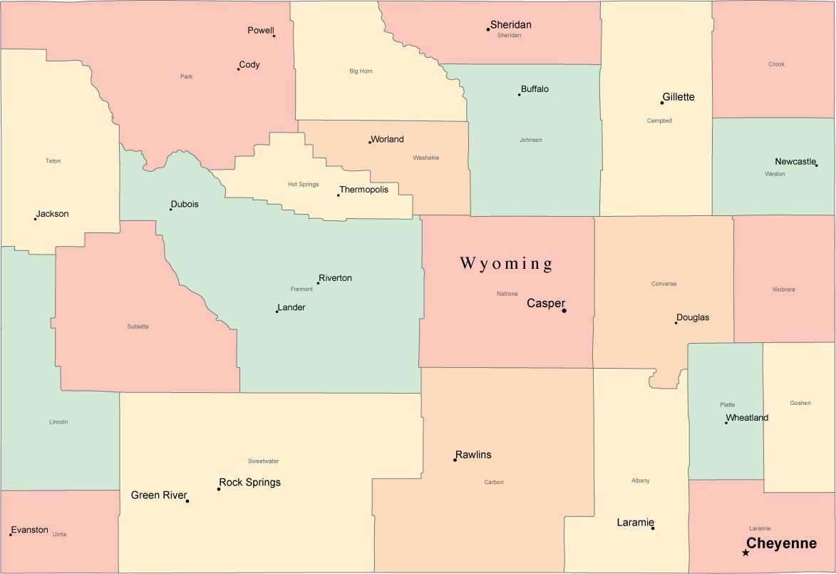 Multi Color Wyoming Map with Counties, Capitals, and Major Cities