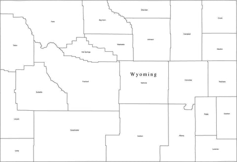 Digital WY Map with Counties - Black & White