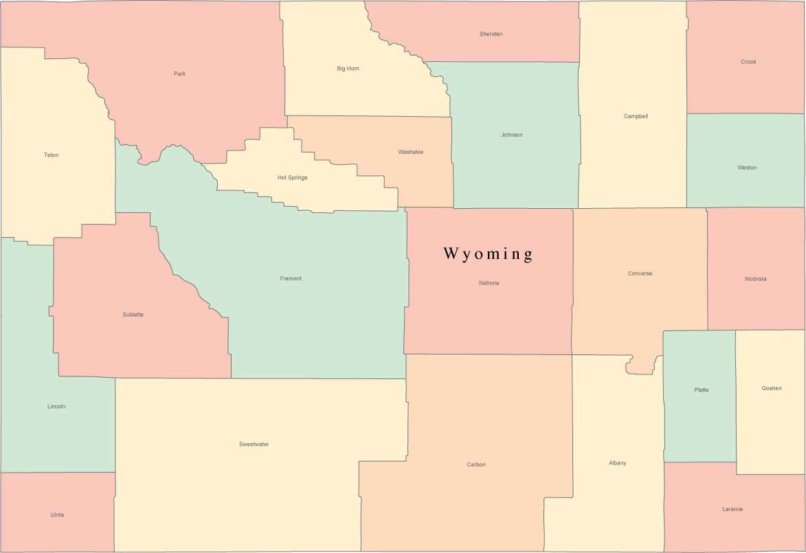 S In Wyoming Map on
