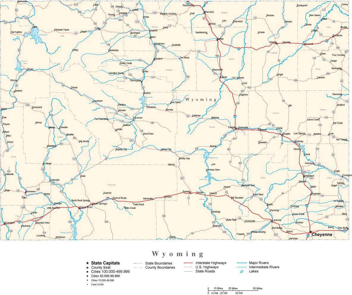 Wyoming Map - Cut Out Style - with Capital, County Boundaries, Cities,  Roads, and Water Features