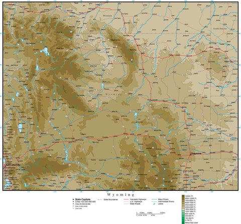 Wyoming Map with Contour Background